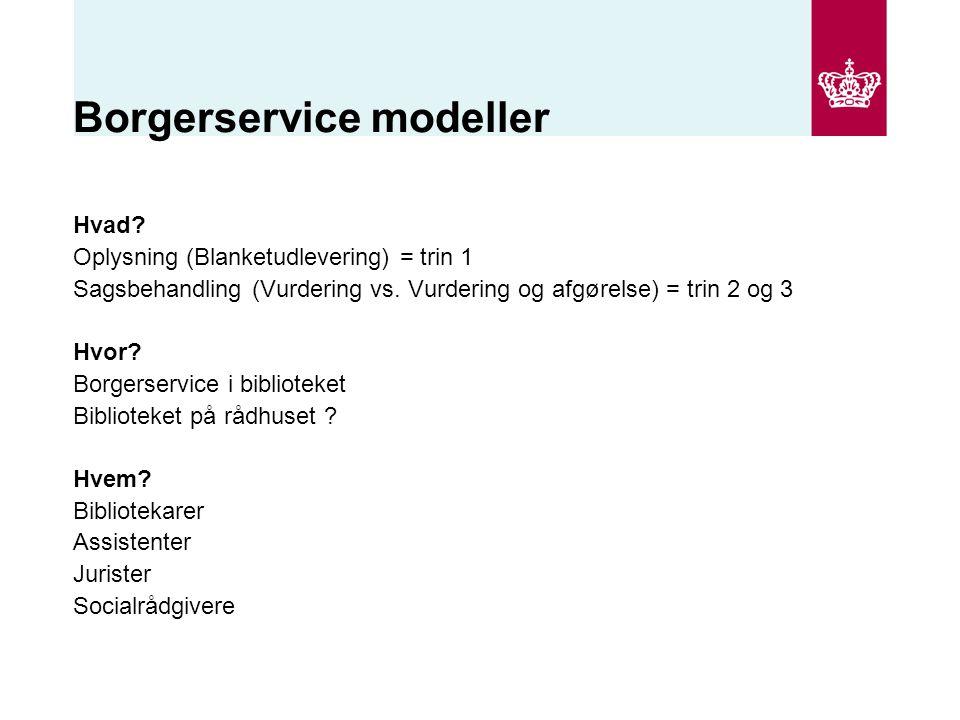 Borgerservice modeller Hvad. Oplysning (Blanketudlevering) = trin 1 Sagsbehandling (Vurdering vs.