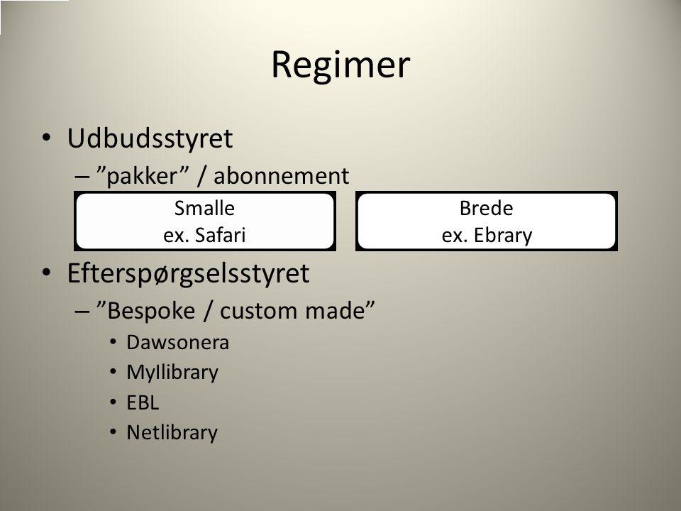 Udbudsstyret – pakker / abonnement Efterspørgselsstyret – Bespoke / custom made Dawsonera MyIlibrary EBL Netlibrary Smalle ex.