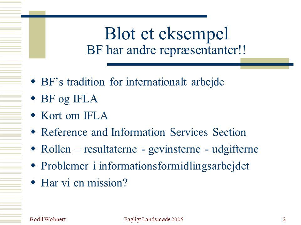 Bodil Wöhnert Fagligt Landsmøde 20052 Blot et eksempel BF har andre repræsentanter!.