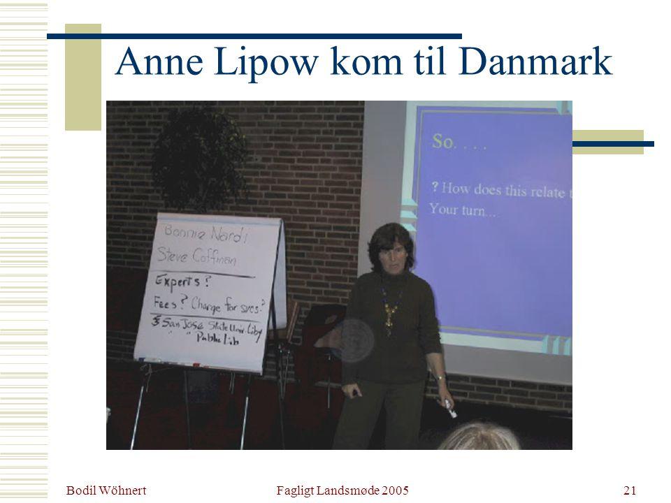 Bodil Wöhnert Fagligt Landsmøde 200521 Anne Lipow kom til Danmark