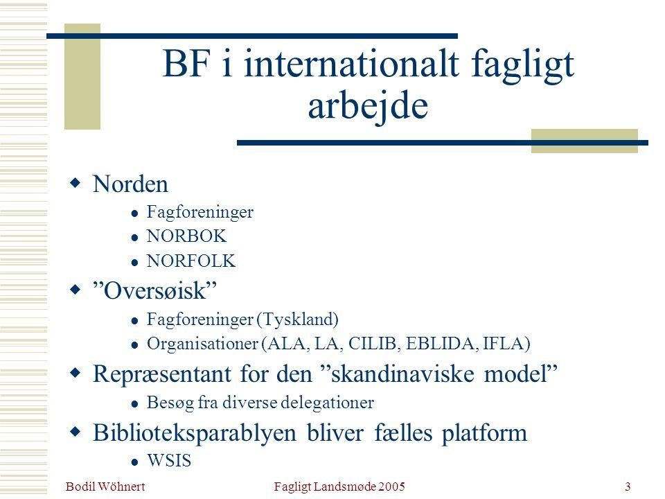 Bodil Wöhnert Fagligt Landsmøde 20053 BF i internationalt fagligt arbejde  Norden Fagforeninger NORBOK NORFOLK  Oversøisk Fagforeninger (Tyskland) Organisationer (ALA, LA, CILIB, EBLIDA, IFLA)  Repræsentant for den skandinaviske model Besøg fra diverse delegationer  Biblioteksparablyen bliver fælles platform WSIS