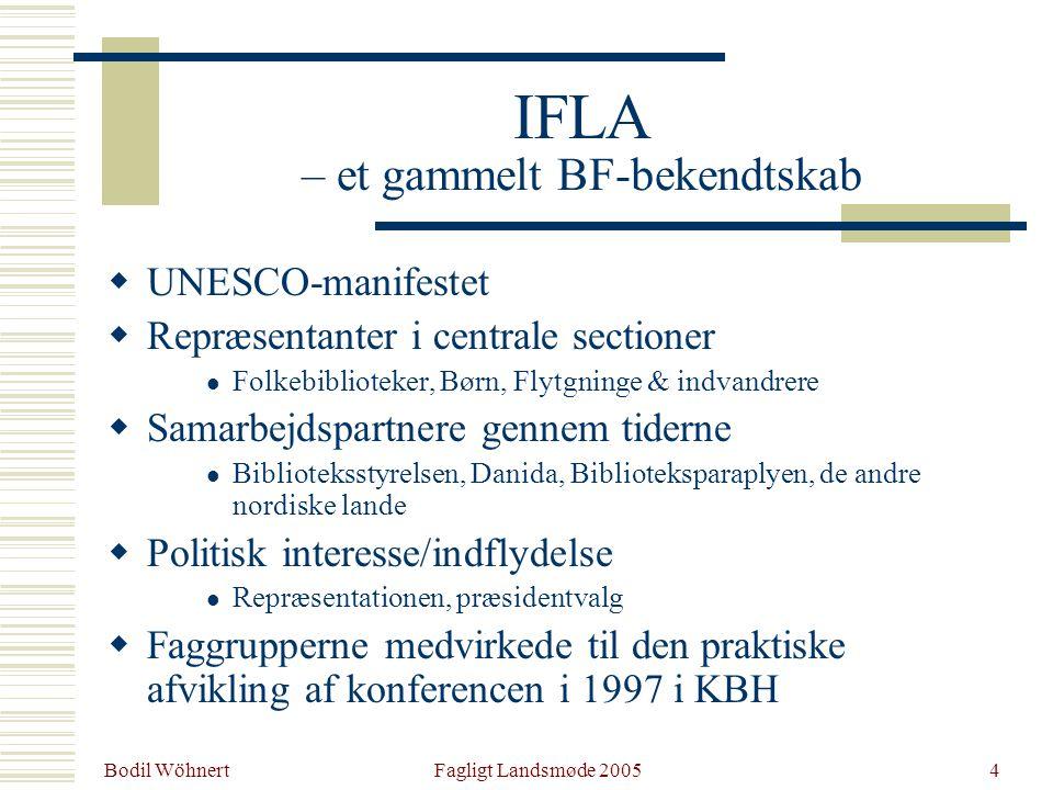 Bodil Wöhnert Fagligt Landsmøde 20054 IFLA – et gammelt BF-bekendtskab  UNESCO-manifestet  Repræsentanter i centrale sectioner Folkebiblioteker, Børn, Flytgninge & indvandrere  Samarbejdspartnere gennem tiderne Biblioteksstyrelsen, Danida, Biblioteksparaplyen, de andre nordiske lande  Politisk interesse/indflydelse Repræsentationen, præsidentvalg  Faggrupperne medvirkede til den praktiske afvikling af konferencen i 1997 i KBH