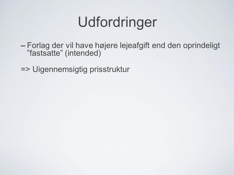 Udfordringer –Forlag der vil have højere lejeafgift end den oprindeligt fastsatte (intended) => Uigennemsigtig prisstruktur