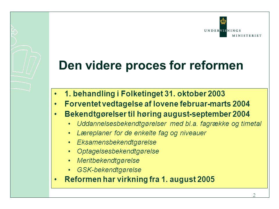 2 Den videre proces for reformen 1. behandling i Folketinget 31.