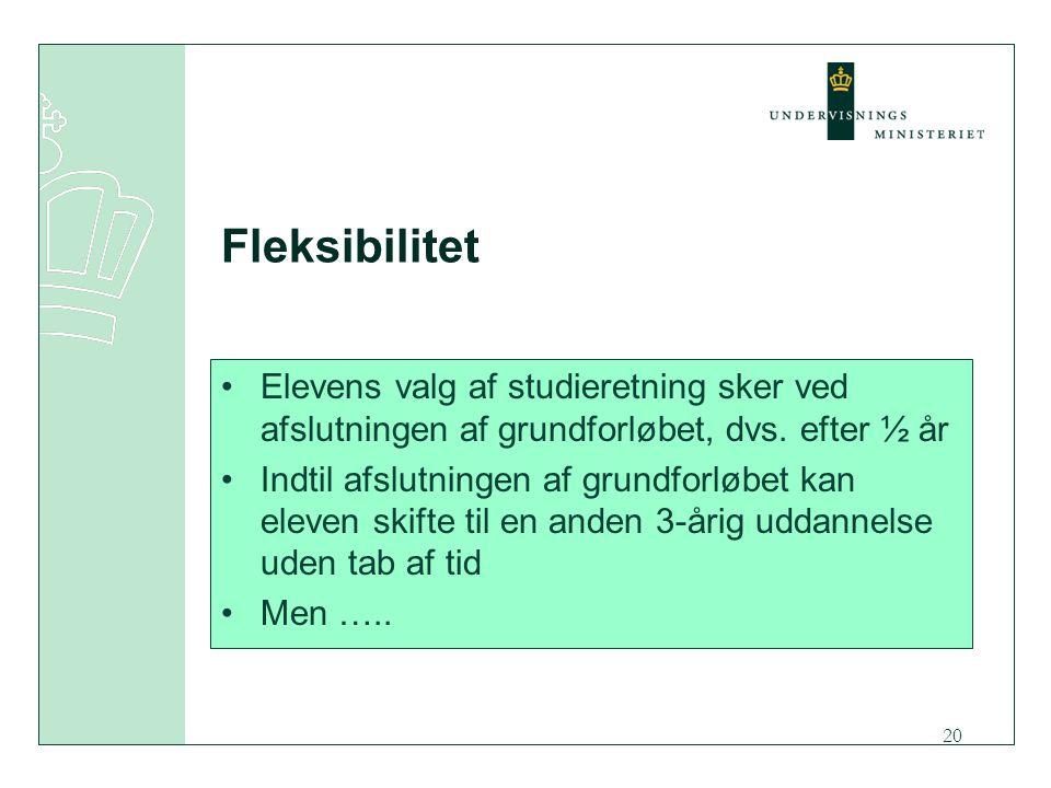 20 Fleksibilitet Elevens valg af studieretning sker ved afslutningen af grundforløbet, dvs.