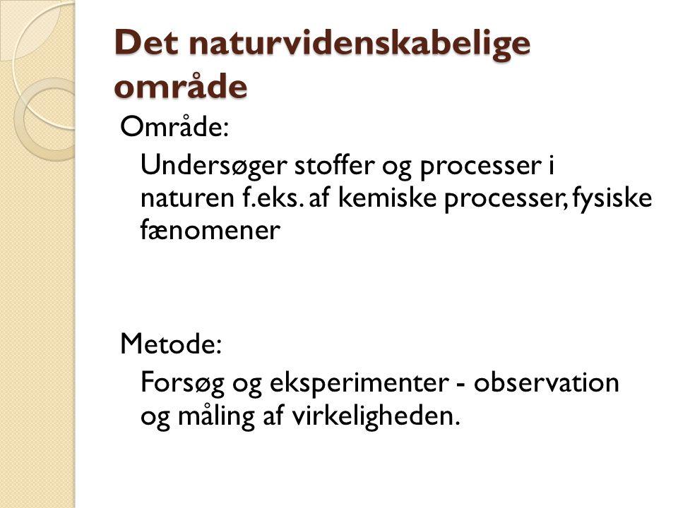 Det naturvidenskabelige område Område: Undersøger stoffer og processer i naturen f.eks.