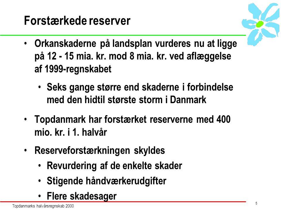 Topdanmarks halvårsregnskab 2000 5 Forstærkede reserver Orkanskaderne på landsplan vurderes nu at ligge på 12 - 15 mia.