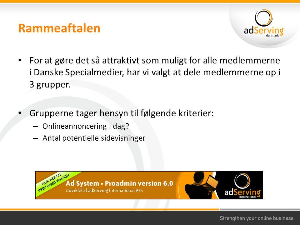 Rammeaftalen For at gøre det så attraktivt som muligt for alle medlemmerne i Danske Specialmedier, har vi valgt at dele medlemmerne op i 3 grupper.