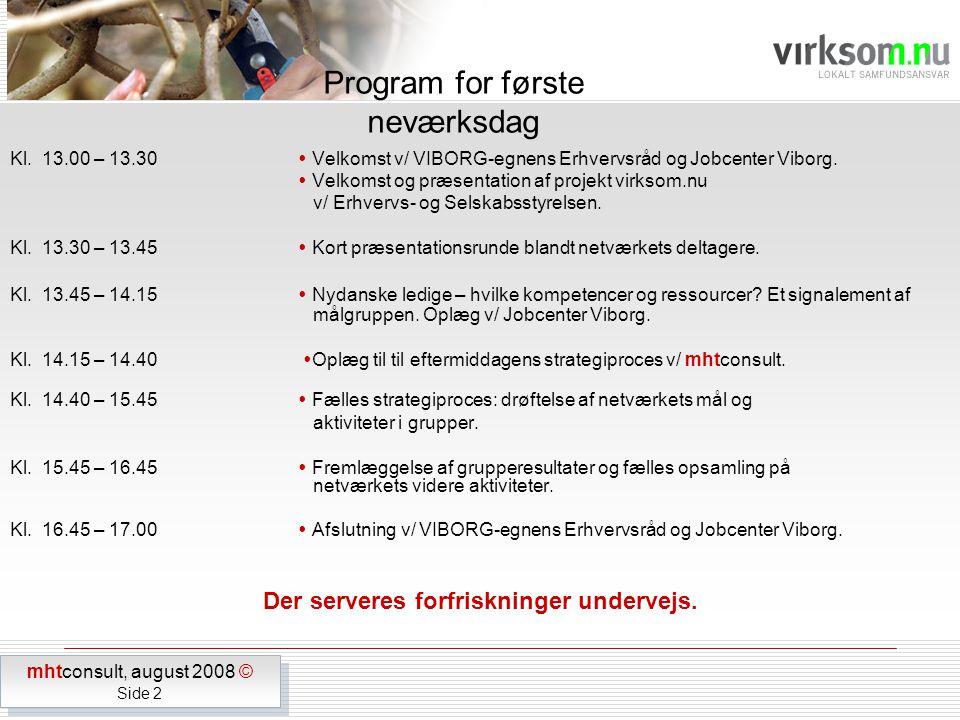 Kl. 13.00 – 13.30  Velkomst v/ VIBORG-egnens Erhvervsråd og Jobcenter Viborg.