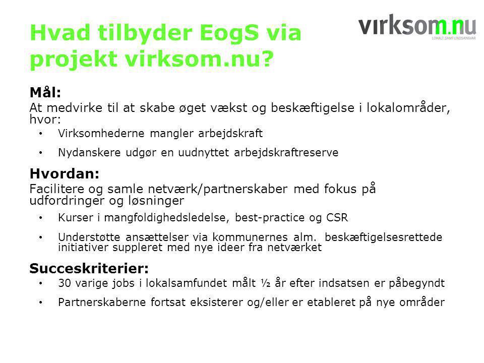 Hvad tilbyder EogS via projekt virksom.nu.