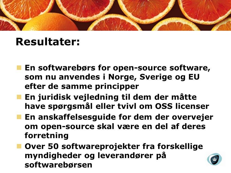 Resultater: En softwarebørs for open-source software, som nu anvendes i Norge, Sverige og EU efter de samme principper En juridisk vejledning til dem der måtte have spørgsmål eller tvivl om OSS licenser En anskaffelsesguide for dem der overvejer om open-source skal være en del af deres forretning Over 50 softwareprojekter fra forskellige myndigheder og leverandører på softwarebørsen