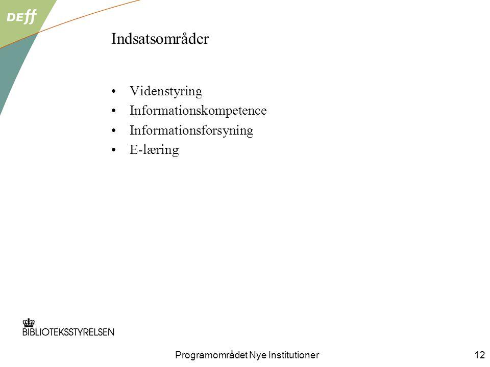 Indsatsområder Videnstyring Informationskompetence Informationsforsyning E-læring Programområdet Nye Institutioner12