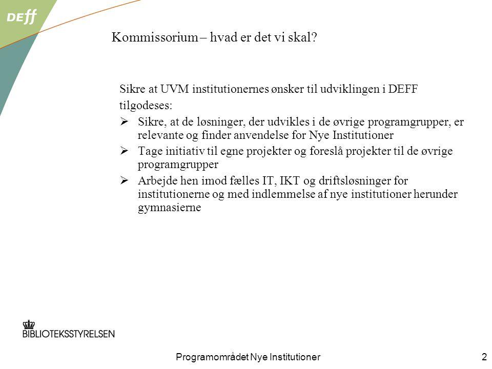 Programområdet Nye Institutioner2 Kommissorium – hvad er det vi skal.