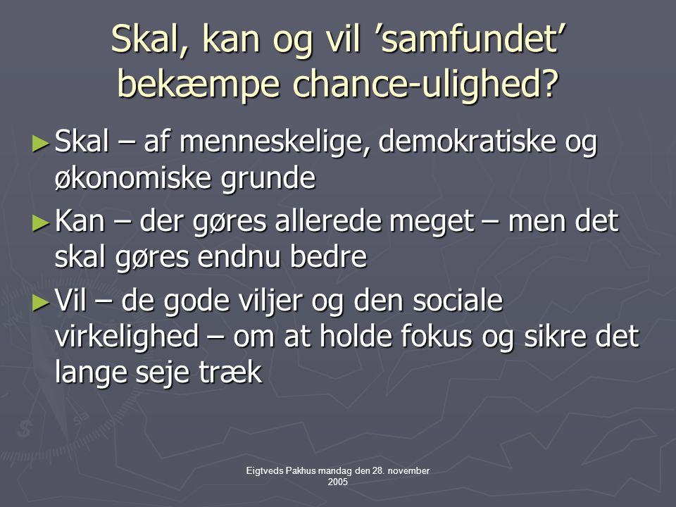 Eigtveds Pakhus mandag den 28. november 2005 Skal, kan og vil 'samfundet' bekæmpe chance-ulighed.