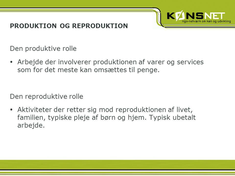 PRODUKTION OG REPRODUKTION Den produktive rolle  Arbejde der involverer produktionen af varer og services som for det meste kan omsættes til penge.