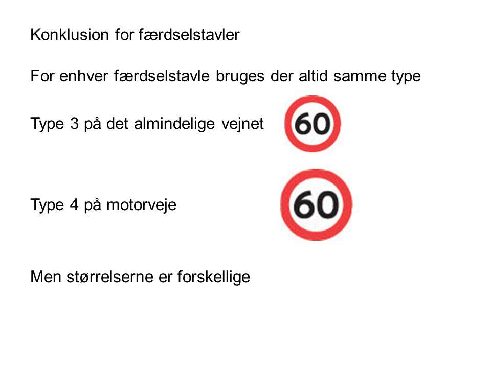 Konklusion for færdselstavler For enhver færdselstavle bruges der altid samme type Type 3 på det almindelige vejnet Type 4 på motorveje Men størrelserne er forskellige