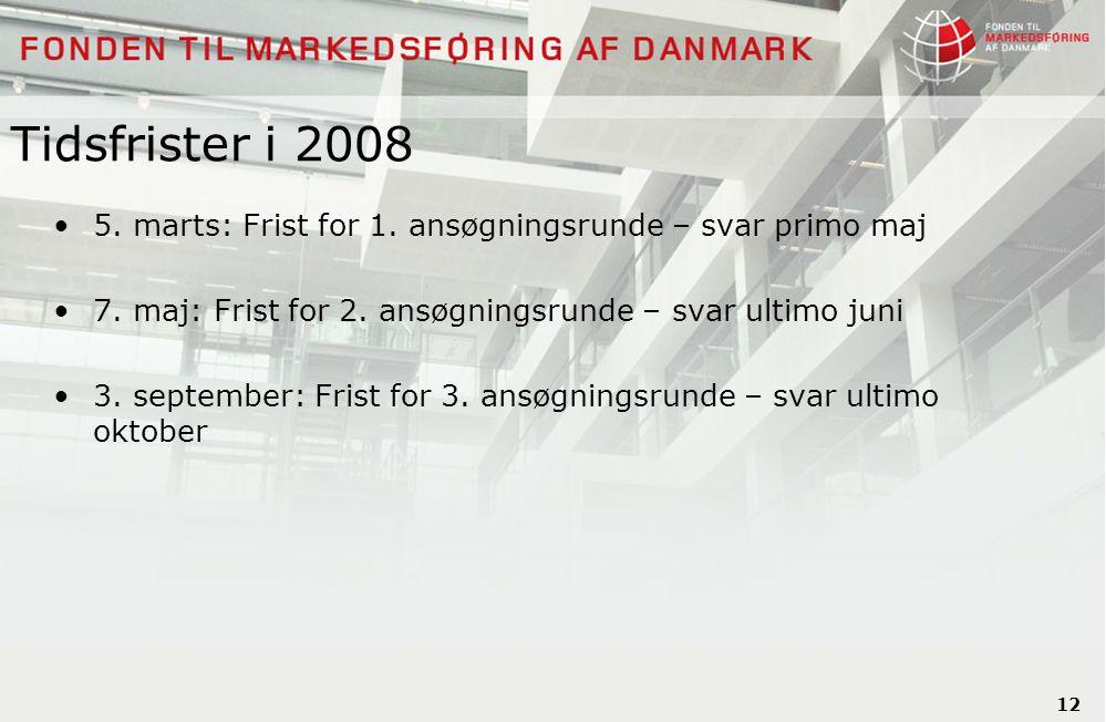 12 Tidsfrister i 2008 5. marts: Frist for 1. ansøgningsrunde – svar primo maj 7.
