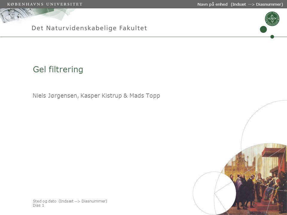 Sted og dato (Indsæt --> Diasnummer) Dias 1 Navn på enhed (Indsæt --> Diasnummer) Gel filtrering Niels Jørgensen, Kasper Kistrup & Mads Topp