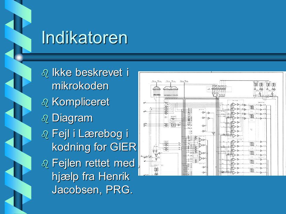 Indikatoren b Ikke beskrevet i mikrokoden b Kompliceret b Diagram b Fejl i Lærebog i kodning for GIER .