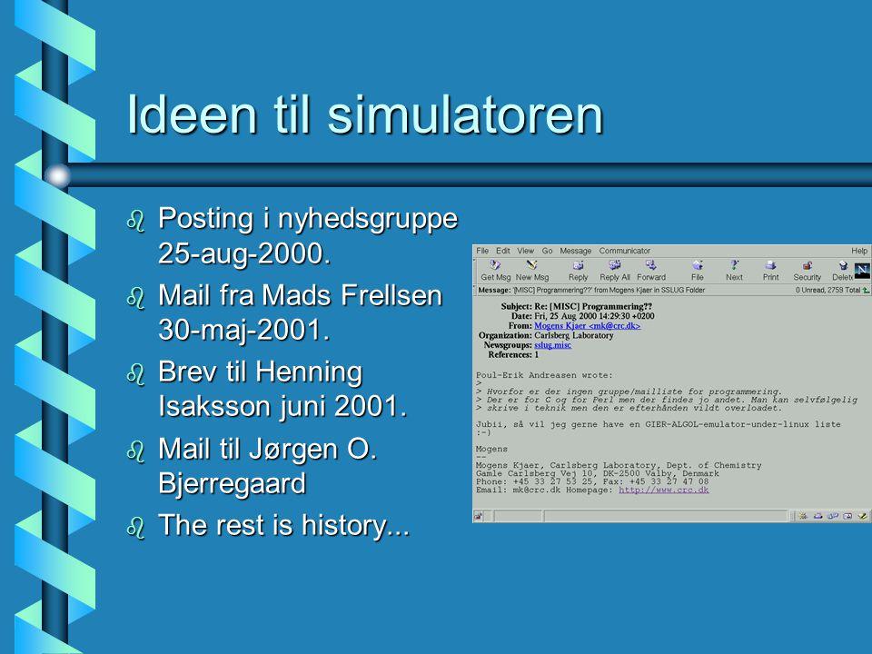 Ideen til simulatoren b Posting i nyhedsgruppe 25-aug-2000.
