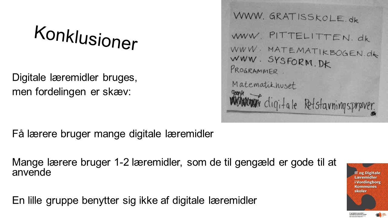 Konklusioner Digitale læremidler bruges, men fordelingen er skæv: Få lærere bruger mange digitale læremidler Mange lærere bruger 1-2 læremidler, som de til gengæld er gode til at anvende En lille gruppe benytter sig ikke af digitale læremidler