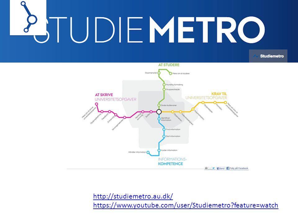 http://studiemetro.au.dk/ https://www.youtube.com/user/Studiemetro feature=watch
