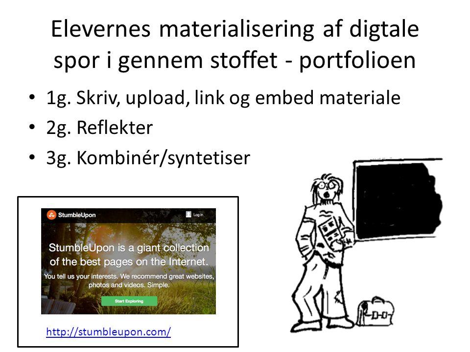 Elevernes materialisering af digtale spor i gennem stoffet - portfolioen 1g.