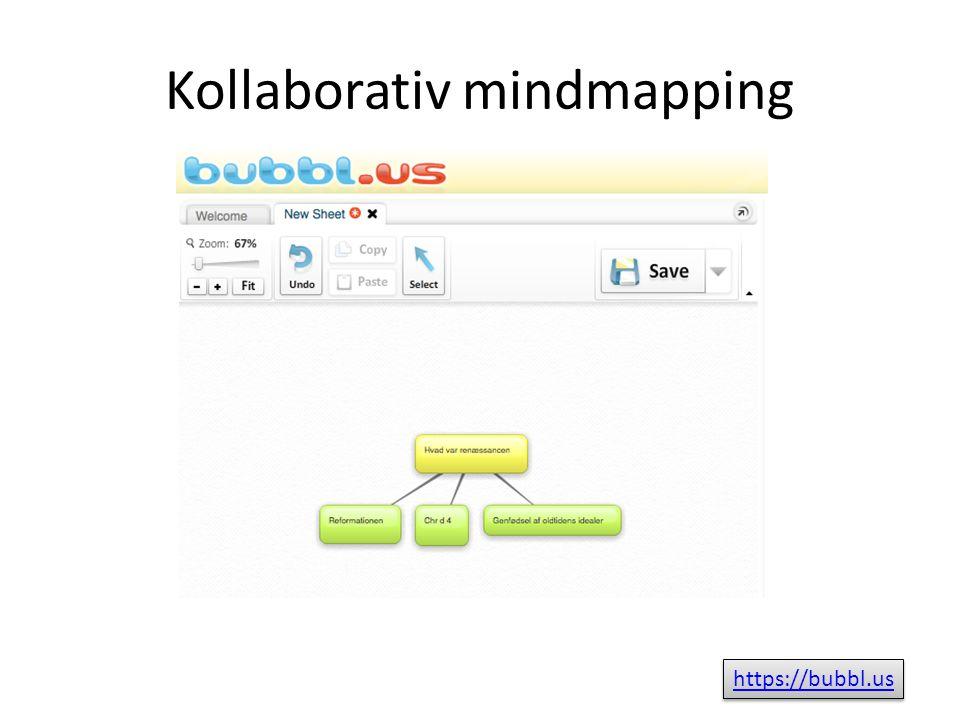 Kollaborativ mindmapping https://bubbl.us