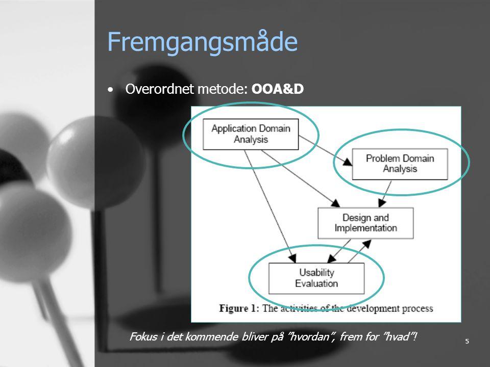 5 Fremgangsmåde Overordnet metode: OOA&D Fokus i det kommende bliver på hvordan , frem for hvad !