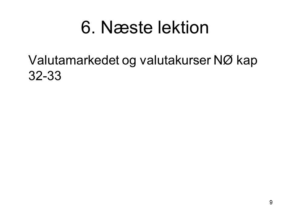 9 6. Næste lektion Valutamarkedet og valutakurser NØ kap 32-33