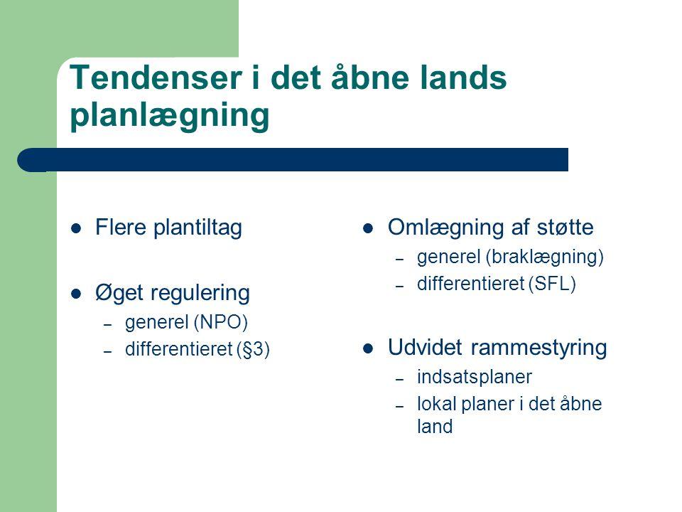 Tendenser i det åbne lands planlægning Flere plantiltag Øget regulering – generel (NPO) – differentieret (§3) Omlægning af støtte – generel (braklægning) – differentieret (SFL) Udvidet rammestyring – indsatsplaner – lokal planer i det åbne land