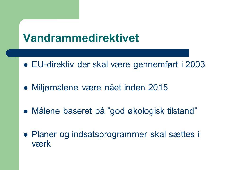 Vandrammedirektivet EU-direktiv der skal være gennemført i 2003 Miljømålene være nået inden 2015 Målene baseret på god økologisk tilstand Planer og indsatsprogrammer skal sættes i værk