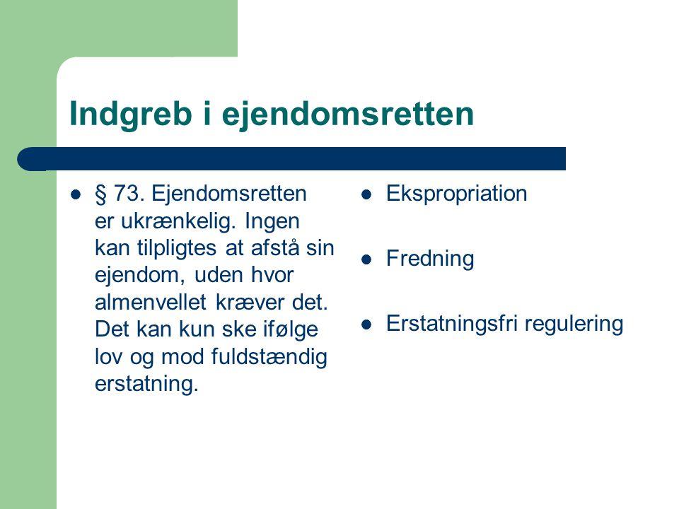 Indgreb i ejendomsretten § 73. Ejendomsretten er ukrænkelig.