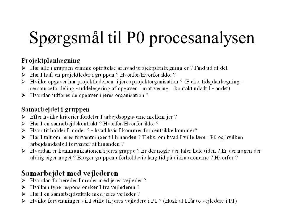 Spørgsmål til P0 procesanalysen
