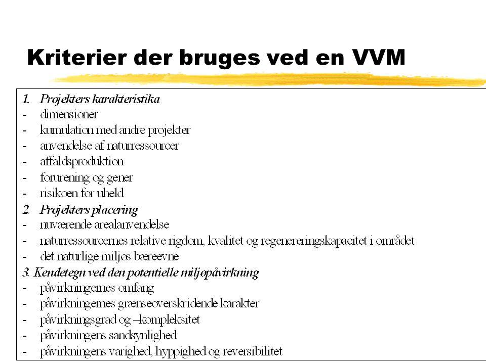 Kriterier der bruges ved en VVM