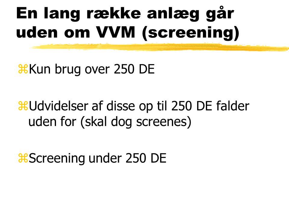 En lang række anlæg går uden om VVM (screening) zKun brug over 250 DE zUdvidelser af disse op til 250 DE falder uden for (skal dog screenes) zScreening under 250 DE