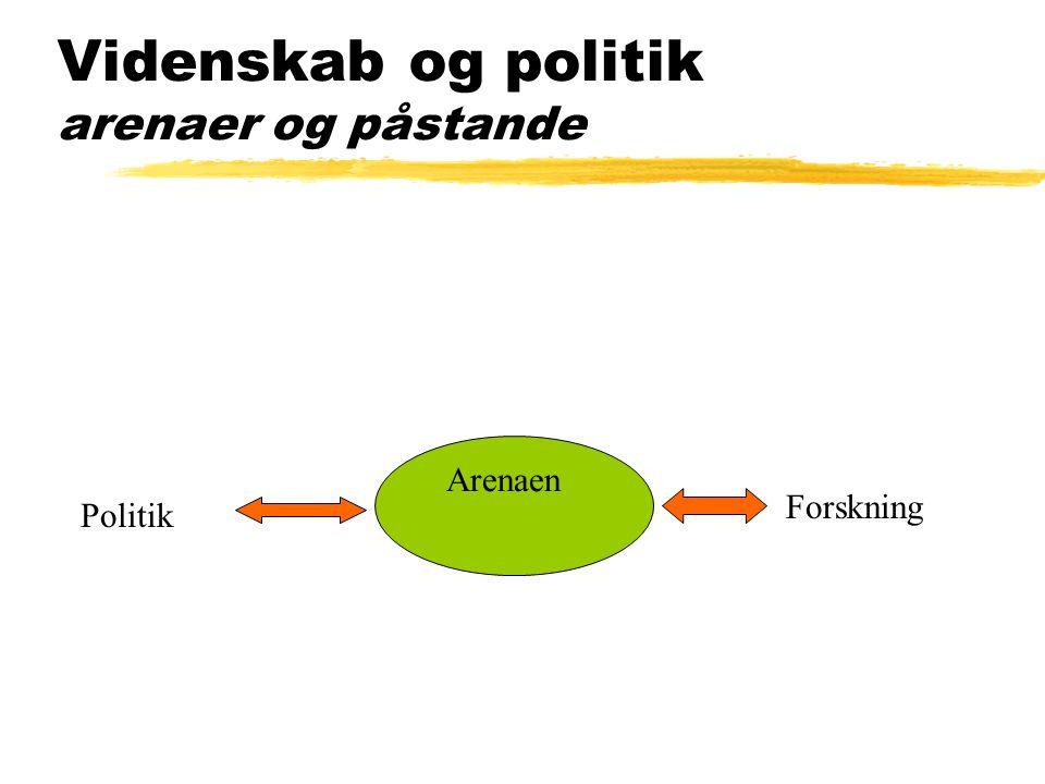 Videnskab og politik arenaer og påstande Politik Forskning Arenaen