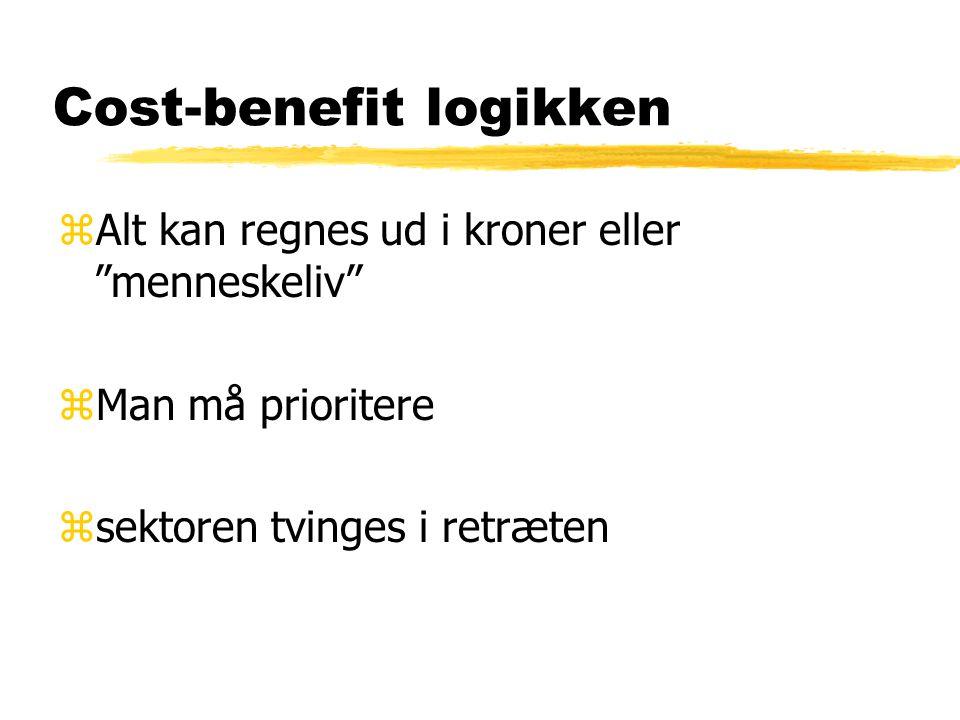 Cost-benefit logikken zAlt kan regnes ud i kroner eller menneskeliv zMan må prioritere zsektoren tvinges i retræten