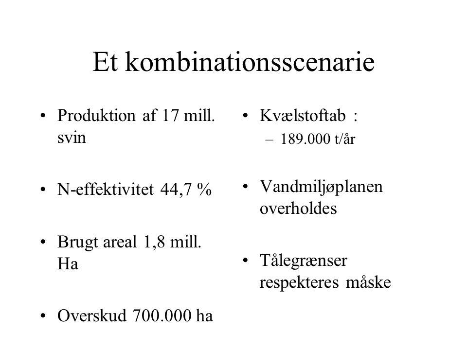 Et kombinationsscenarie Produktion af 17 mill. svin N-effektivitet 44,7 % Brugt areal 1,8 mill.