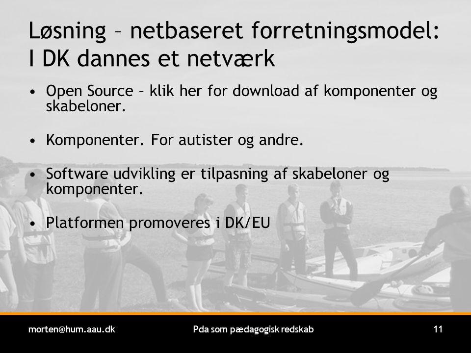 morten@hum.aau.dkPda som pædagogisk redskab11 Løsning – netbaseret forretningsmodel: I DK dannes et netværk Open Source – klik her for download af komponenter og skabeloner.