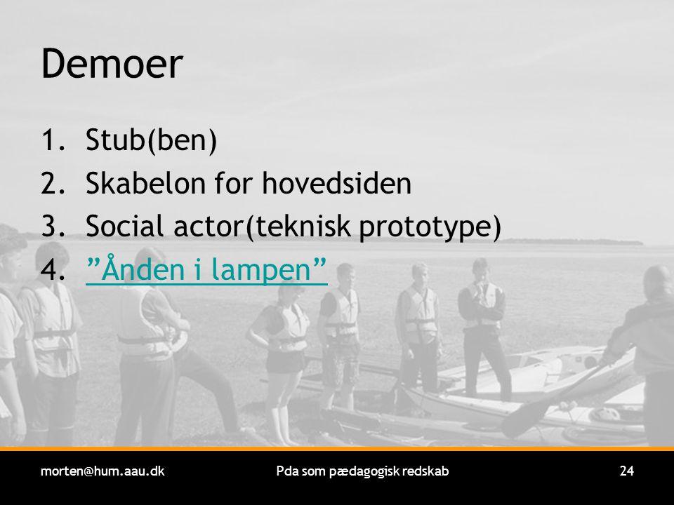 morten@hum.aau.dkPda som pædagogisk redskab24 Demoer 1.Stub(ben) 2.Skabelon for hovedsiden 3.Social actor(teknisk prototype) 4. Ånden i lampen Ånden i lampen