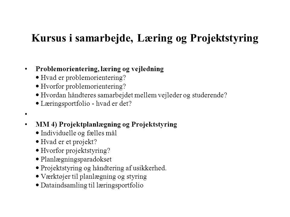 Kursus i samarbejde, Læring og Projektstyring Problemorientering, læring og vejledning  Hvad er problemorientering?  Hvorfor problemorientering? 
