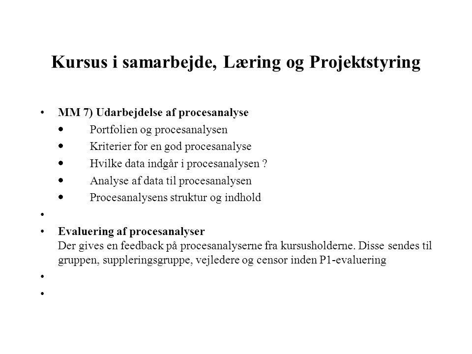 Kursus i samarbejde, Læring og Projektstyring MM 7) Udarbejdelse af procesanalyse  Portfolien og procesanalysen  Kriterier for en god procesanalys