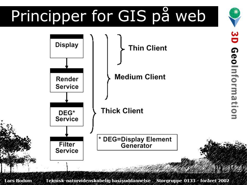 Lars BodumTeknisk-naturvidenskabelig basisuddannelseStorgruppe 0133 - foråret 2002 Principper for GIS på web