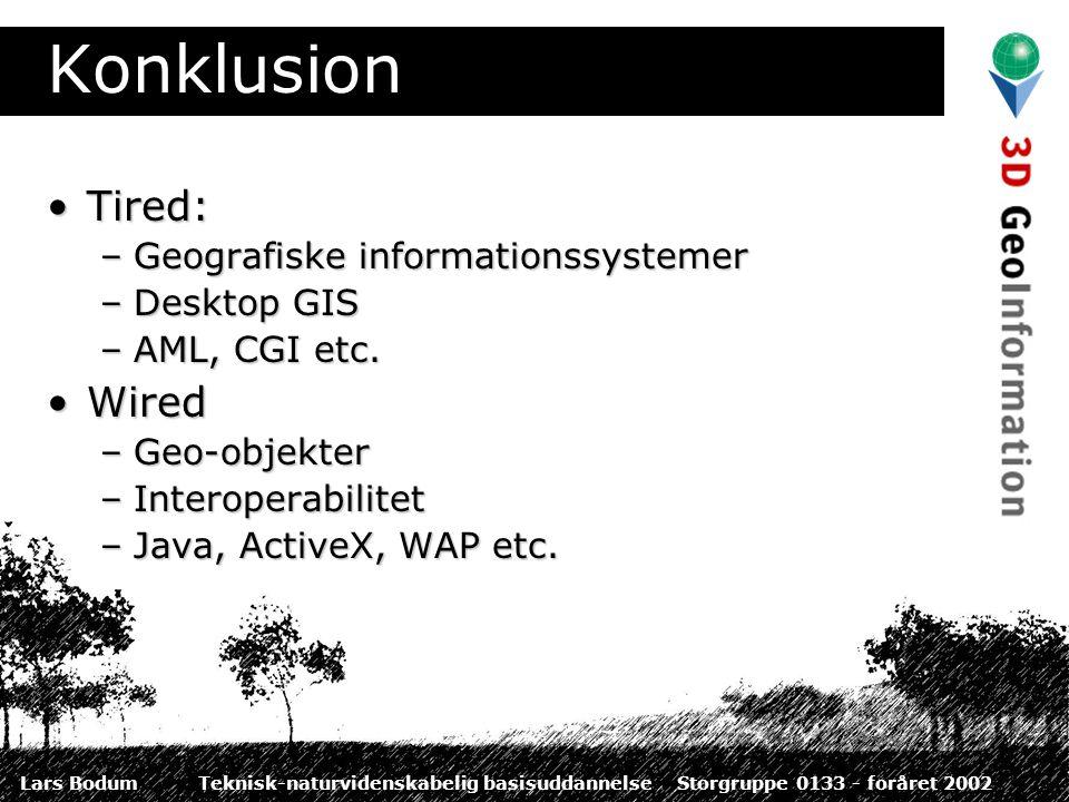 Lars BodumTeknisk-naturvidenskabelig basisuddannelseStorgruppe 0133 - foråret 2002 Konklusion Tired:Tired: –Geografiske informationssystemer –Desktop GIS –AML, CGI etc.