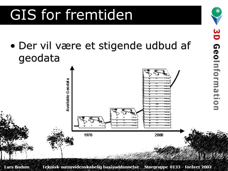 Lars BodumTeknisk-naturvidenskabelig basisuddannelseStorgruppe 0133 - foråret 2002 GIS for fremtiden Der vil være et stigende udbud af geodataDer vil være et stigende udbud af geodata