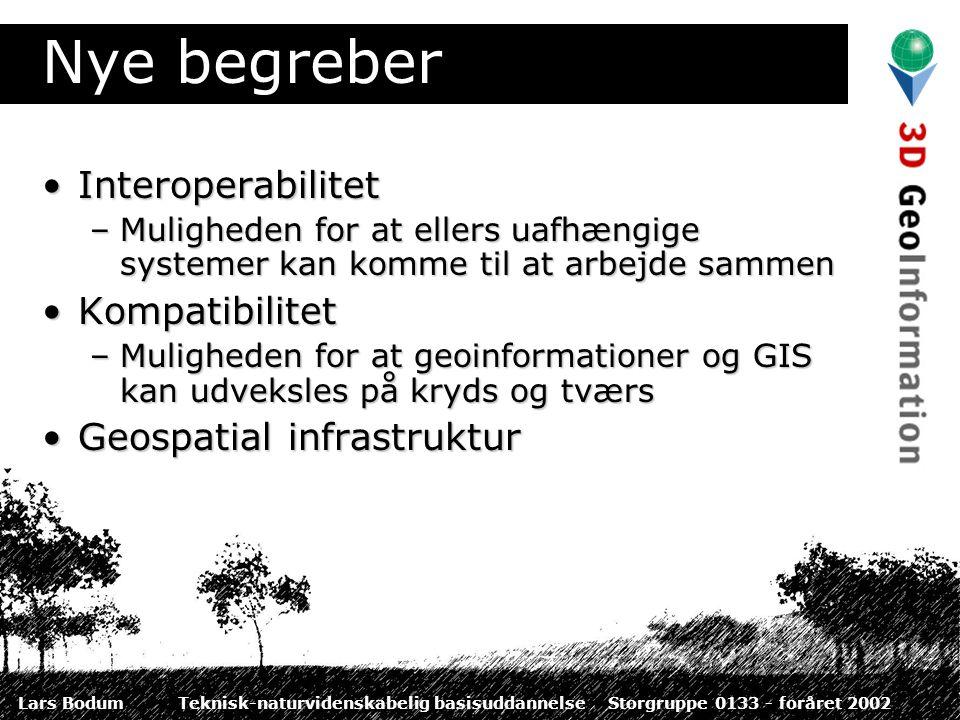 Lars BodumTeknisk-naturvidenskabelig basisuddannelseStorgruppe 0133 - foråret 2002 Nye begreber InteroperabilitetInteroperabilitet –Muligheden for at ellers uafhængige systemer kan komme til at arbejde sammen KompatibilitetKompatibilitet –Muligheden for at geoinformationer og GIS kan udveksles på kryds og tværs Geospatial infrastrukturGeospatial infrastruktur