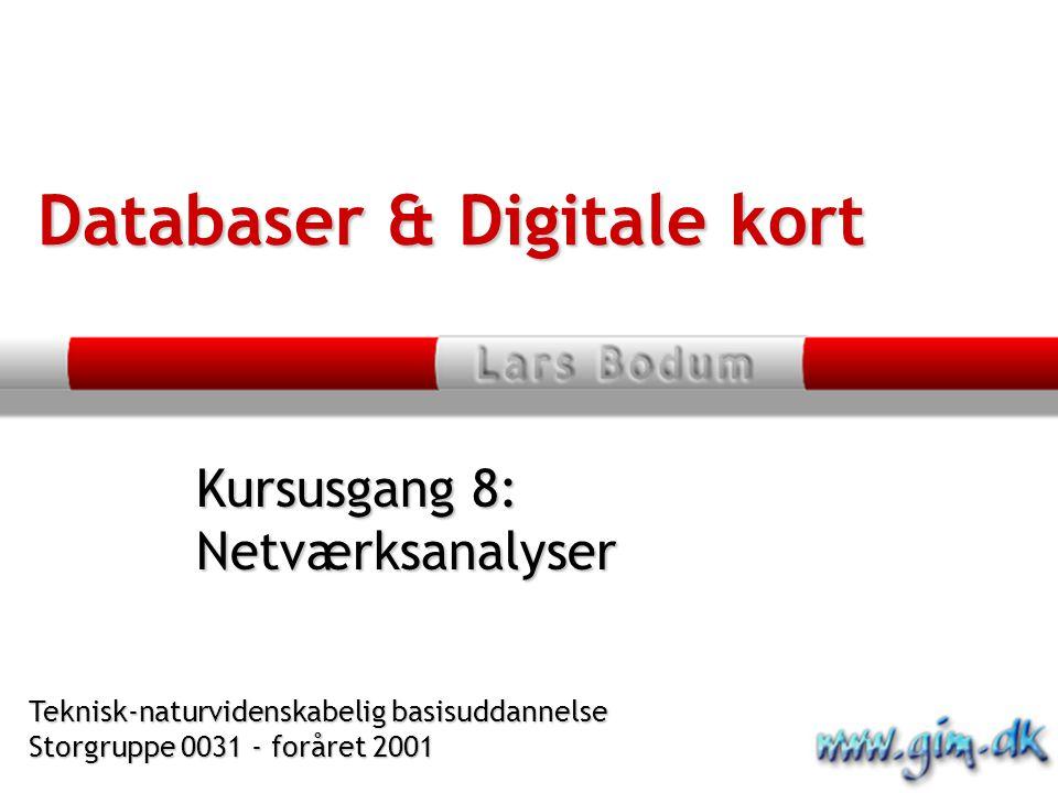 Kursusgang 8: Netværksanalyser Databaser & Digitale kort Teknisk-naturvidenskabelig basisuddannelse Storgruppe 0031 - foråret 2001