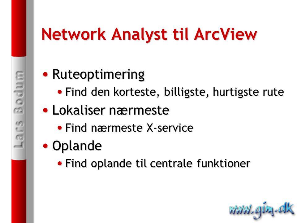 Network Analyst til ArcView Ruteoptimering Ruteoptimering Find den korteste, billigste, hurtigste rute Find den korteste, billigste, hurtigste rute Lokaliser nærmeste Lokaliser nærmeste Find nærmeste X-service Find nærmeste X-service Oplande Oplande Find oplande til centrale funktioner Find oplande til centrale funktioner