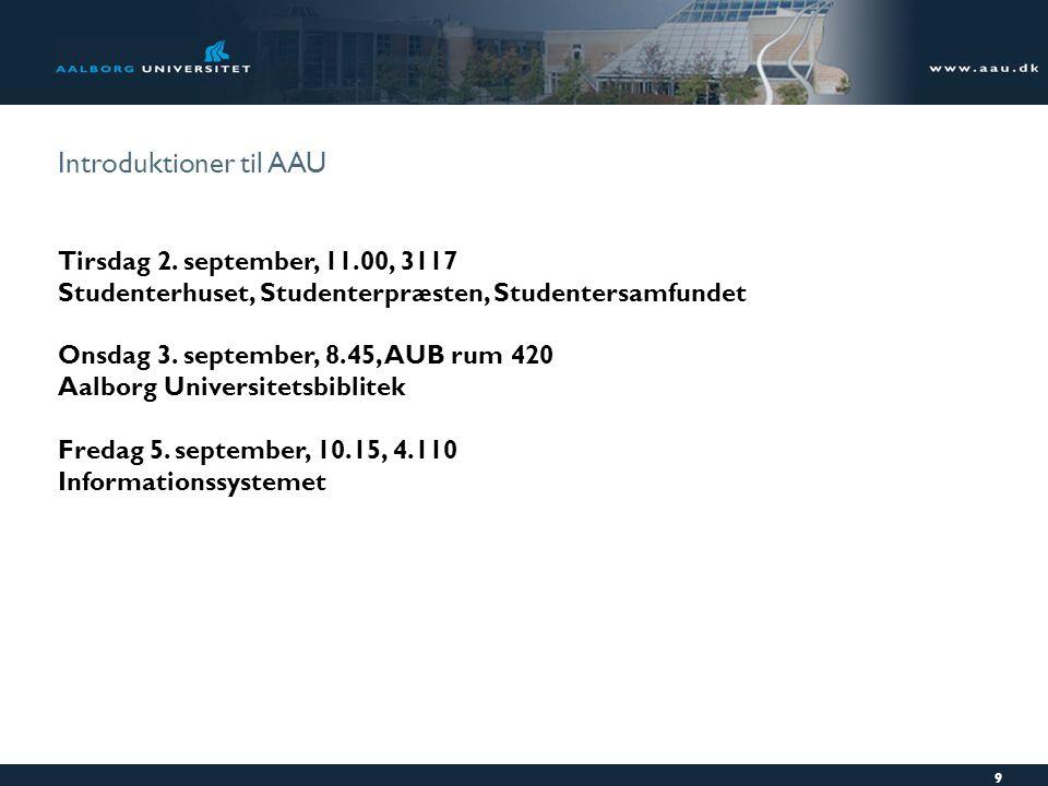 Introduktioner til AAU Tirsdag 2.